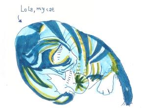 Lola azul amarela